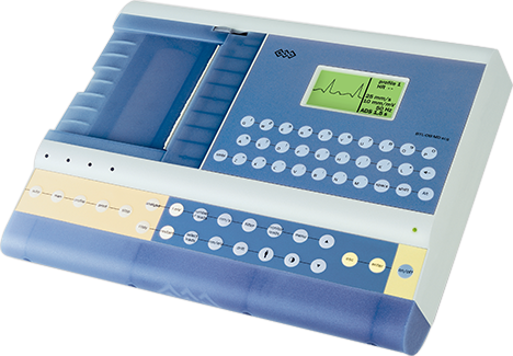a closeup of an ECG machine with display screen