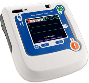 a closeup of an AED machine