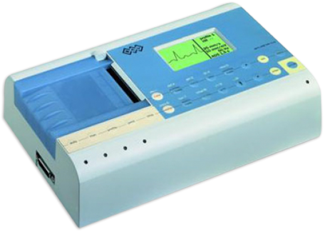 an ECG machine with built-in monitor