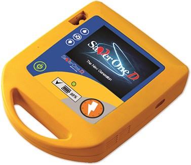 an AED machine with digital screen